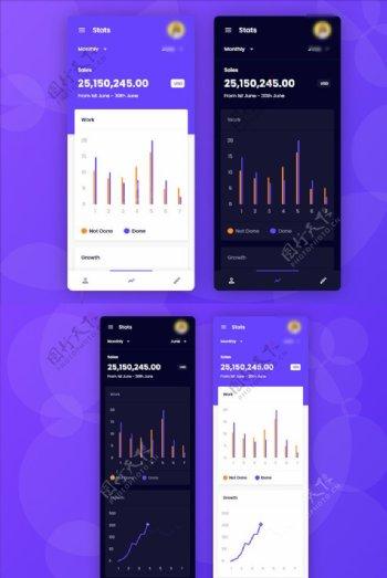 xd数据页紫色黑色UI设计数据图片