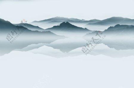 水墨山水屏风倒影中式图片