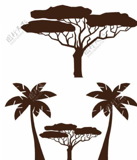 卡通树木矢量图图片