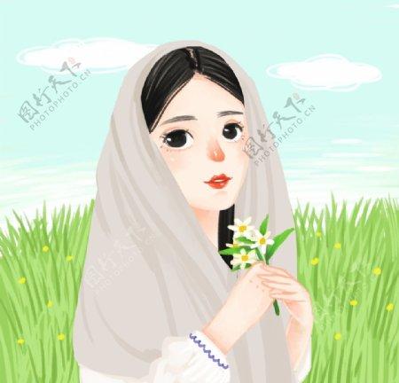 草原女孩图片