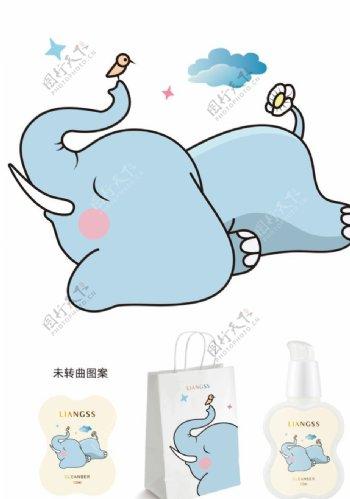 大象卡通包装插画图片