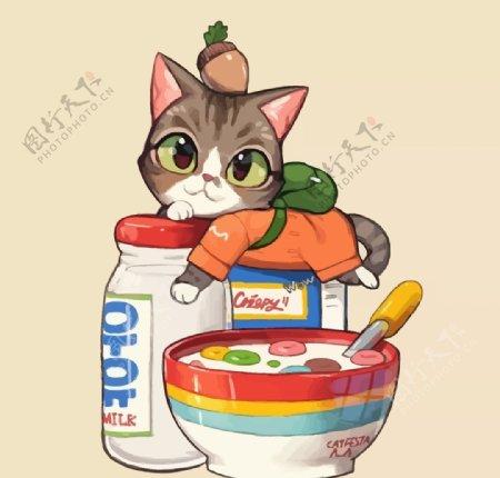 猫咪和牛奶麦片图片
