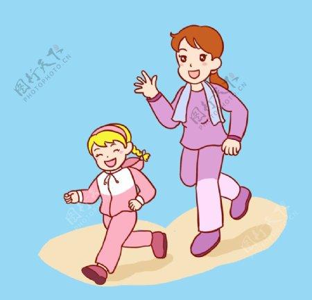 母子跑步图片