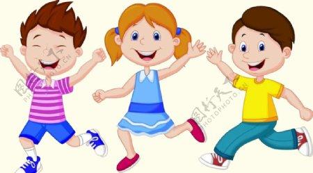 跑步的三个孩子图片