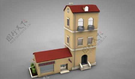 C4D模型小楼房房子木头建筑图片