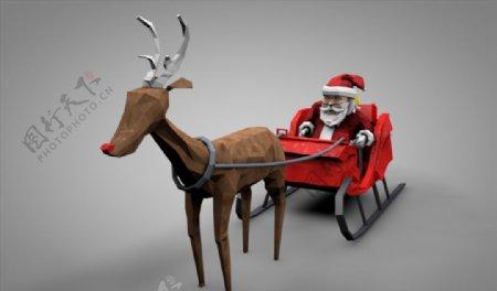 C4D模型圣诞老人麋鹿图片