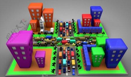 C4D模型房子街道图片