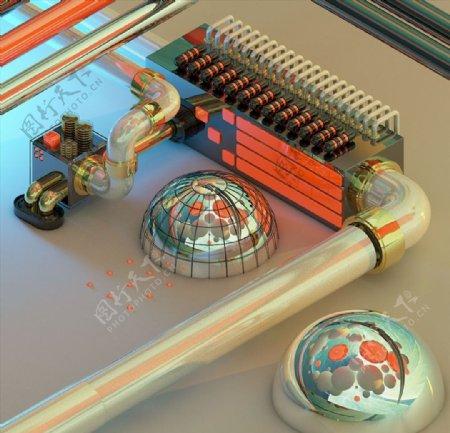C4D模型工厂流水管道电子图片