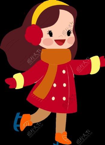 卡通小女孩滑冰无背景图片