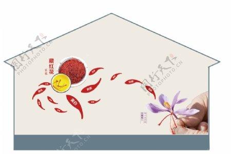藏红花墙绘图片