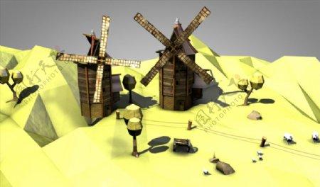 C4D模型风车图片