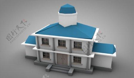 C4D模型大楼建筑房子别墅图片