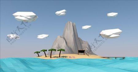 C4D模型山图片