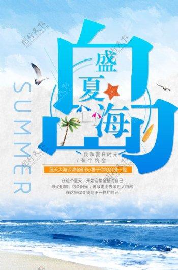 蓝色海洋度假展板图片