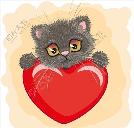 手绘卡通猫和爱心图片
