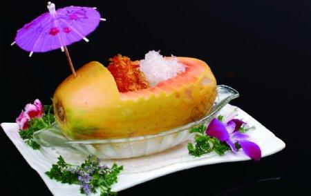 燕窝鲍鱼雪蛤粤菜木瓜图片