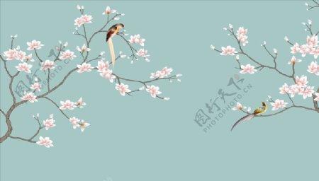 手绘画鸟玉兰背景墙图片