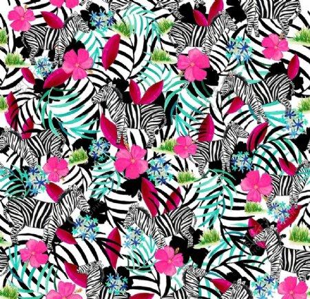 斑马纹循环花型图片