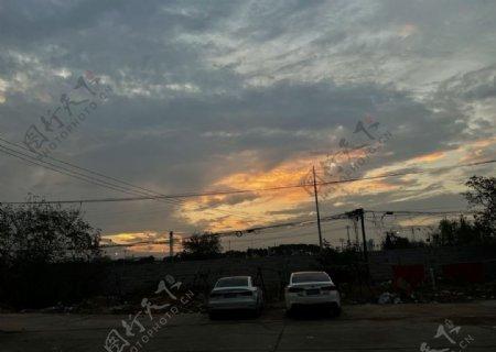 晚安夕阳图片