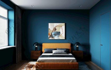 蓝色墙纸卧室展示图片