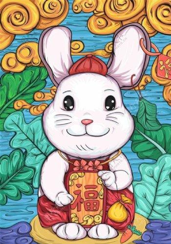 福到国潮兔子插画图片