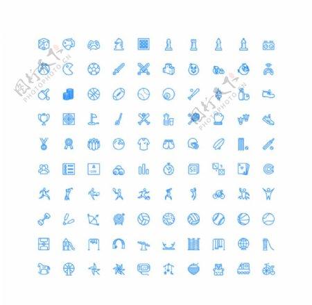 100个游戏休闲运动UI图标图片