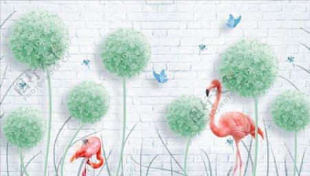 蒲公英火烈鸟背景墙图片