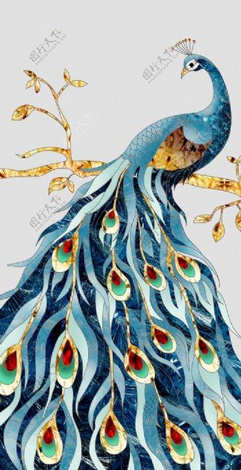晶瓷画孔雀图片