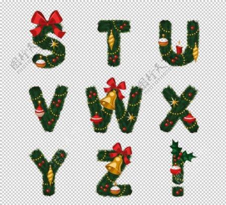 圣诞元素矢量字母创意设计图片