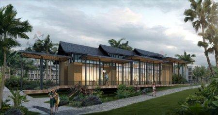 热带别墅度假村椰岛景观效果图图片