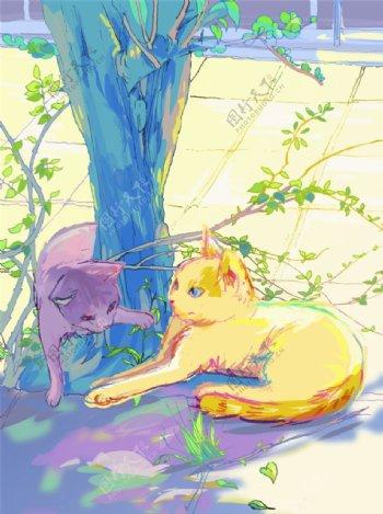 猫咪手绘图图片