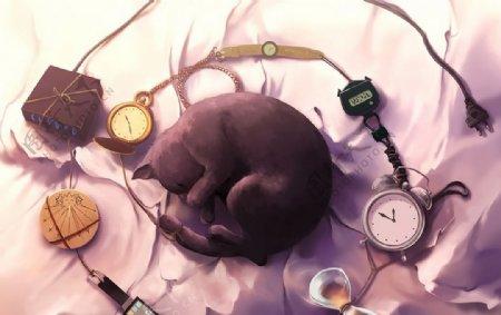 黑猫游戏场景插画卡通背景素材图片