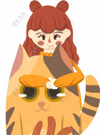女孩和猫插画图片