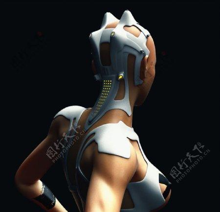 C4D模型女性机器人物模型图片