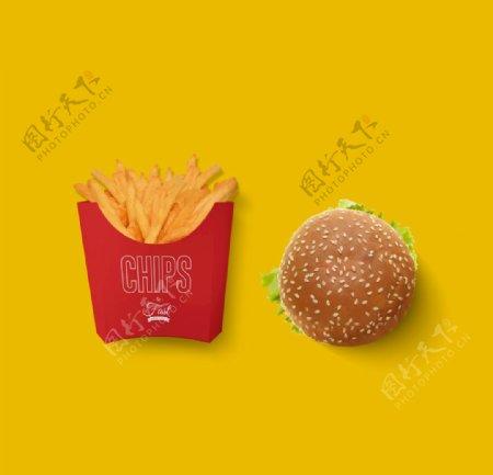 西式快餐汉堡薯条VI样机图片