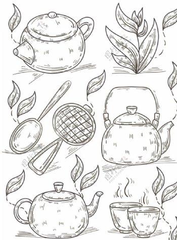 茶壶茶叶线条图片