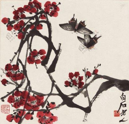 齐白石国画红梅双蝶图图片