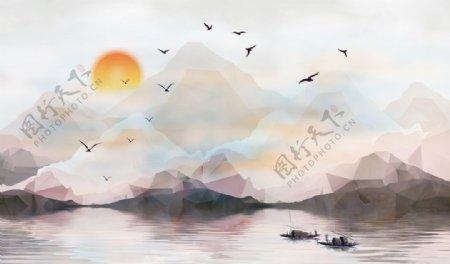 山水画中式背景墙装饰画新背景墙图片