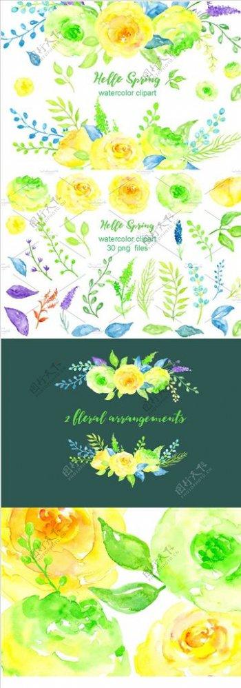 花型设计春季水彩花卉手绘图片