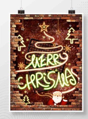 霓虹灯荧光圣诞节节日海报图片
