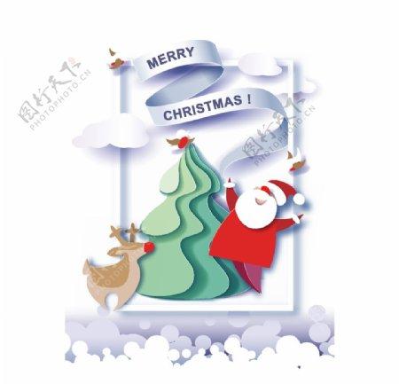 可爱剪纸圣诞矢量插画图片