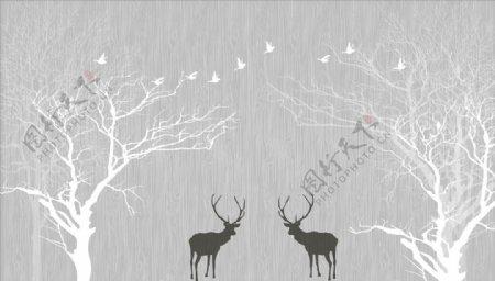 水墨画树鹿背景墙图片