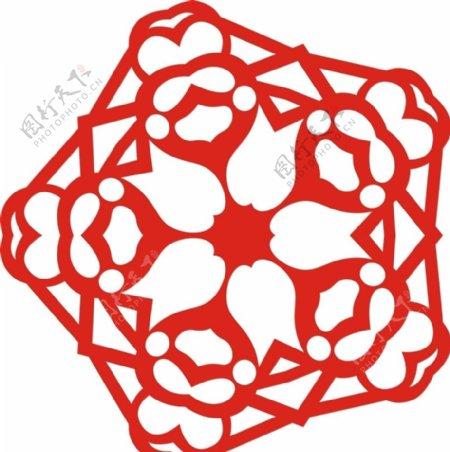 六角剪花窗花纸图案背景元素图片