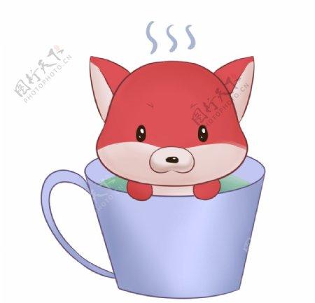 可爱杯子里的狐狸图片