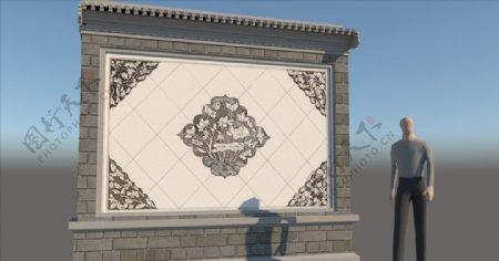 景墙影壁SU模型图片