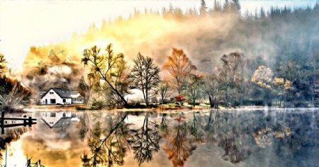山村风景油画图片