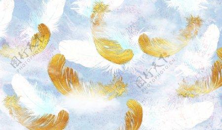 羽毛背景墙图片