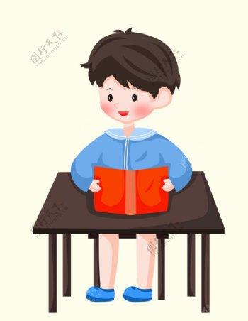 卡通看书男孩图片