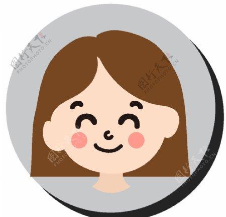 卡通短发女孩图片